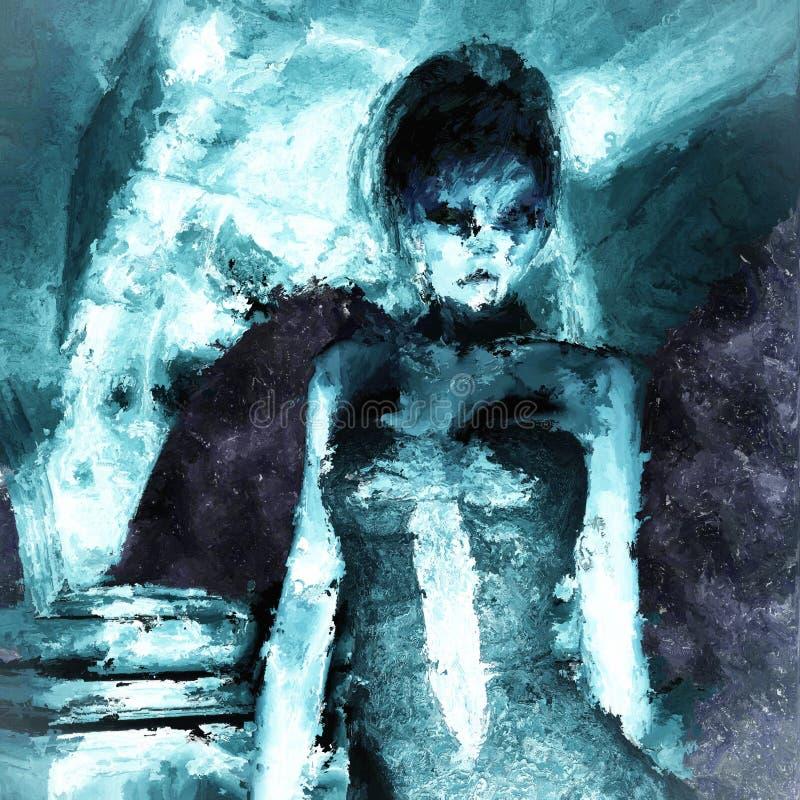 Peinture de Digital d'une femme gothique illustration libre de droits