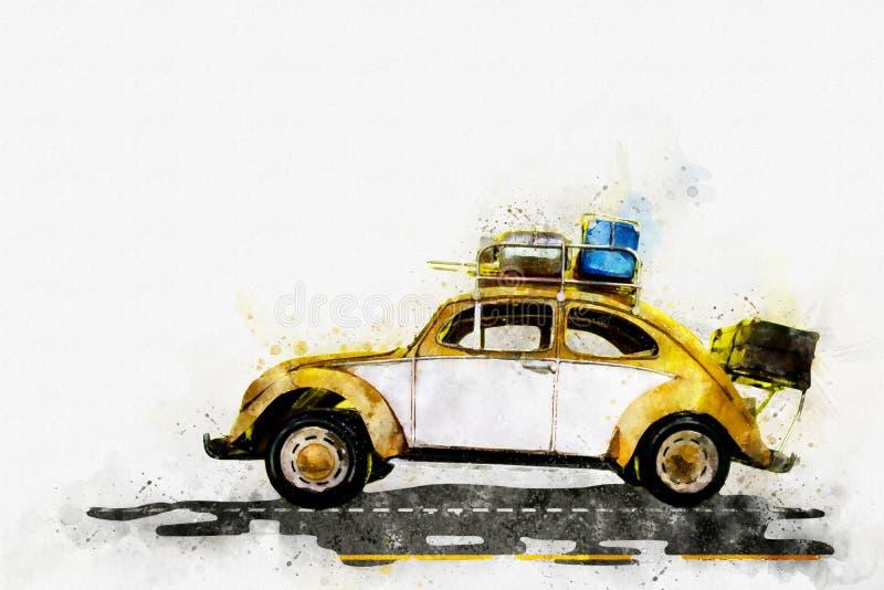 Peinture de Digital de voiture classique, style d'aquarelle illustration stock