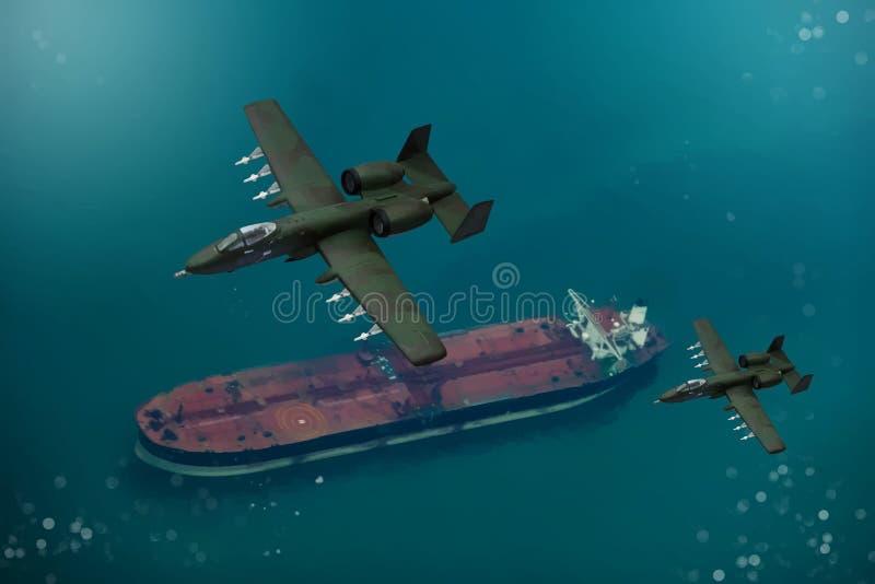 Peinture de Digital des avions militaires modernes illustration stock