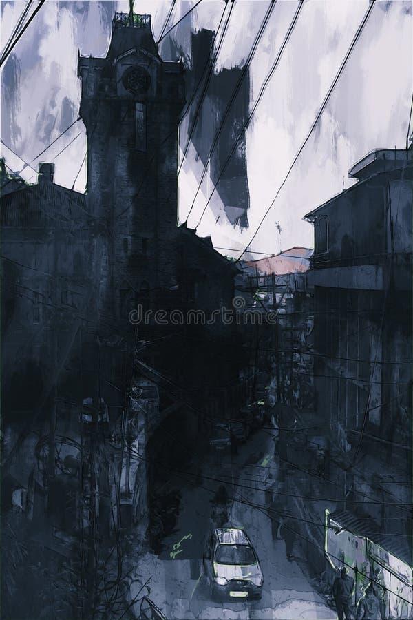 Peinture de Digital de tour d'horloge dans le ton sombre avec la rue et les lignes électriques illustration libre de droits