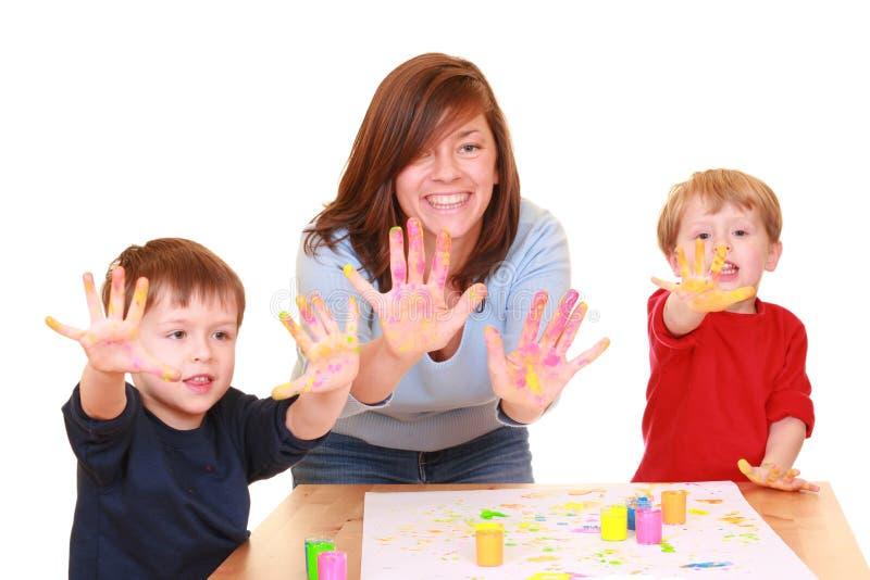 Download Peinture de doigt photo stock. Image du couleur, famille - 2128100