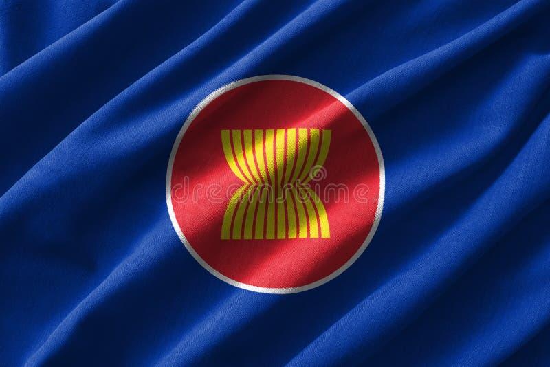 Peinture de drapeau d'ASEAN sur le détail élevé des tissus de coton de vague illustration 3D illustration stock