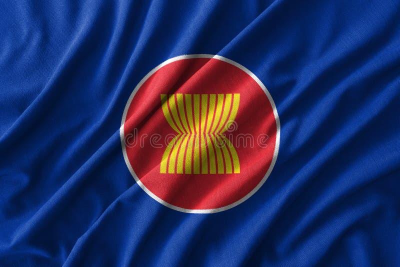 Peinture de drapeau d'ASEAN sur le détail élevé des tissus de coton de vague illustration 3D illustration de vecteur