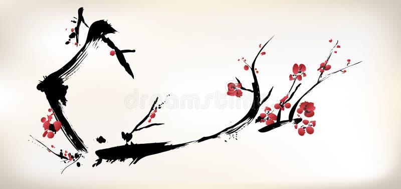 Peinture de fleur illustration de vecteur