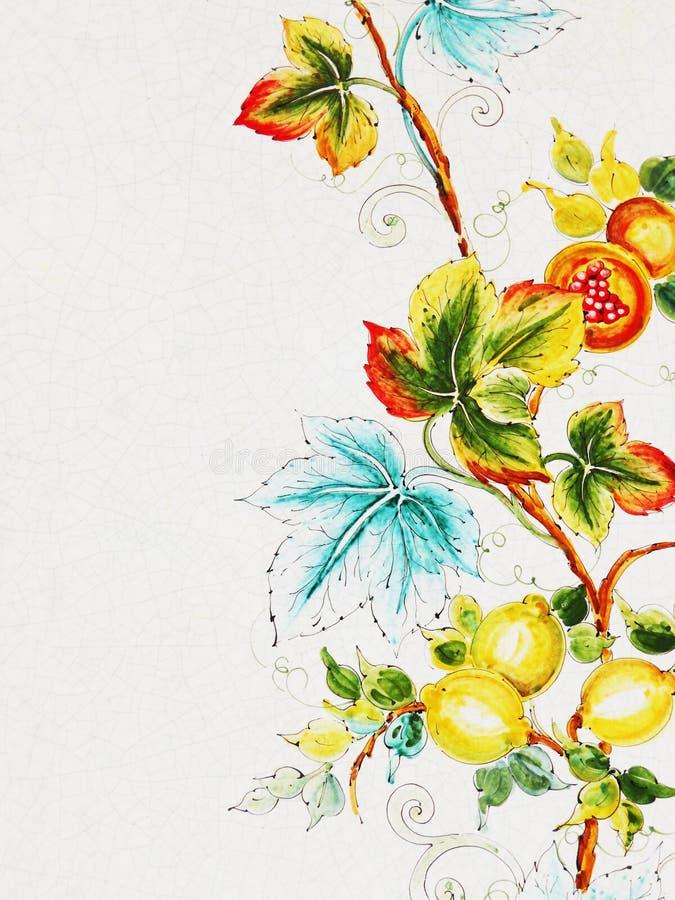 Peinture de fleur sur en céramique illustration libre de droits