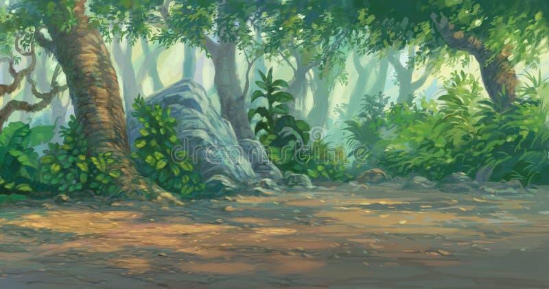 Peinture de forêt illustration de vecteur