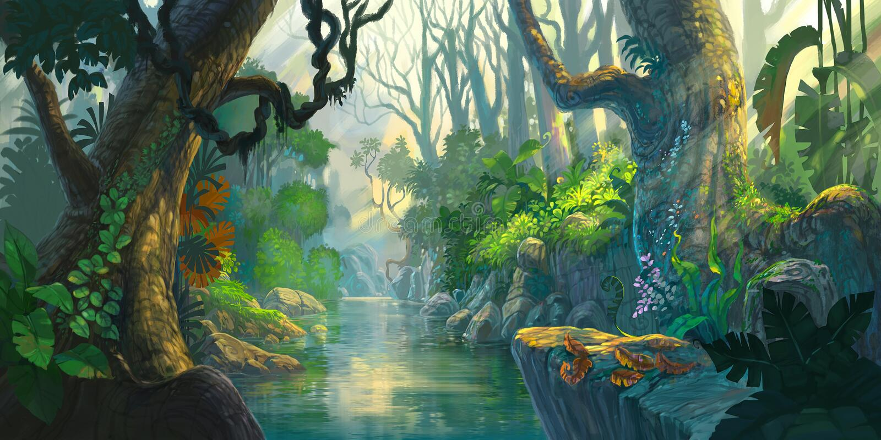 Peinture de forêt d'imagination illustration de vecteur