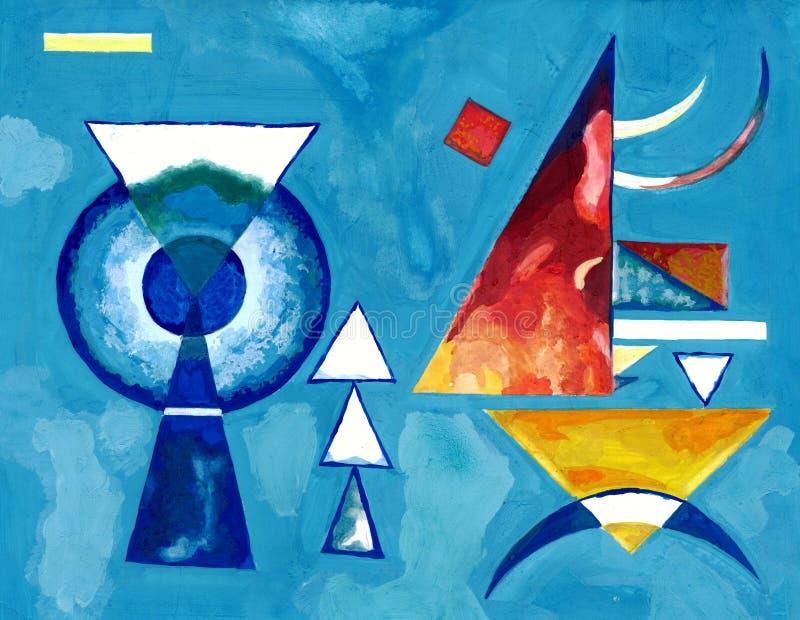 Peinture de la façon de Kandinsky dans des tons bleus illustration stock