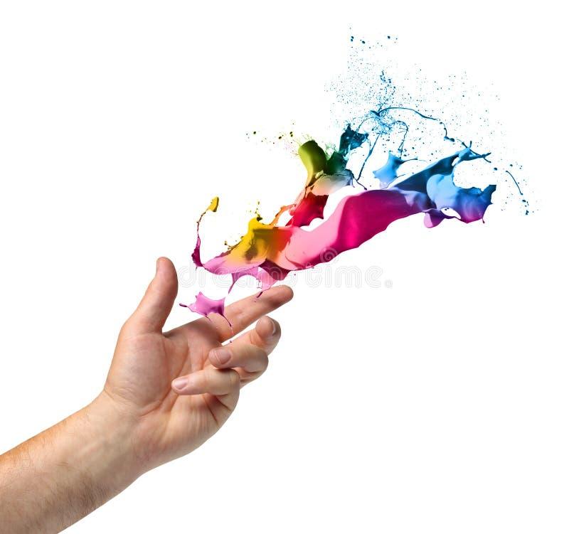 Peinture de lancement de main de concept de créativité image stock