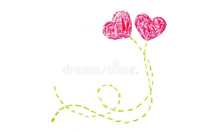 Peinture de main de coeur du jour deux du ` s de Valentine illustration de vecteur