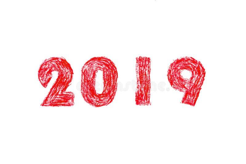 peinture de main de la nouvelle année 2019 illustration stock