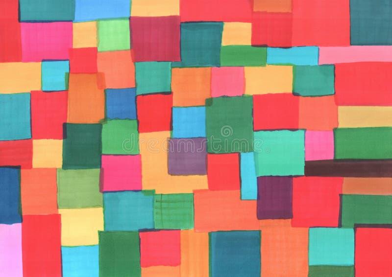 Peinture de marqueur Places multicolores Style de patchwork Texture tirée par la main grunge pour le fond Illustration de trame illustration stock