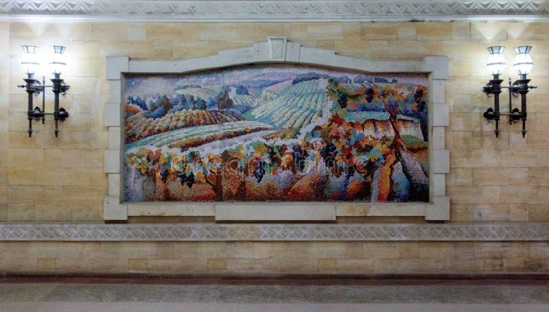 Peinture de mosa?que d'un champ avec des vignes photo libre de droits
