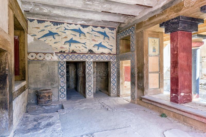 Peinture de mur au palais de Knossos, Crète - Grèce images libres de droits