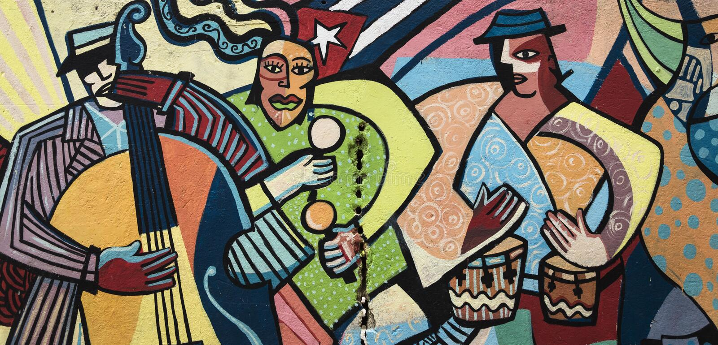 Peinture de mur colorée à La Havane, Cuba photos libres de droits