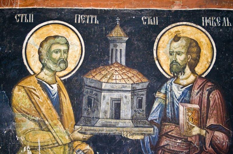 Peinture de mur d'église orthodoxe photos libres de droits
