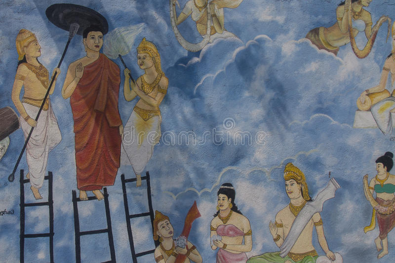 Peinture de mur de Bouddha descendant de Sineru à la terre illustration libre de droits