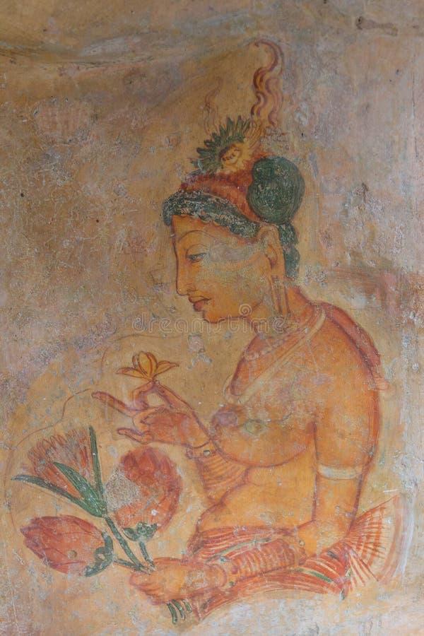 Peinture de mur de femme de Sigiriya image stock