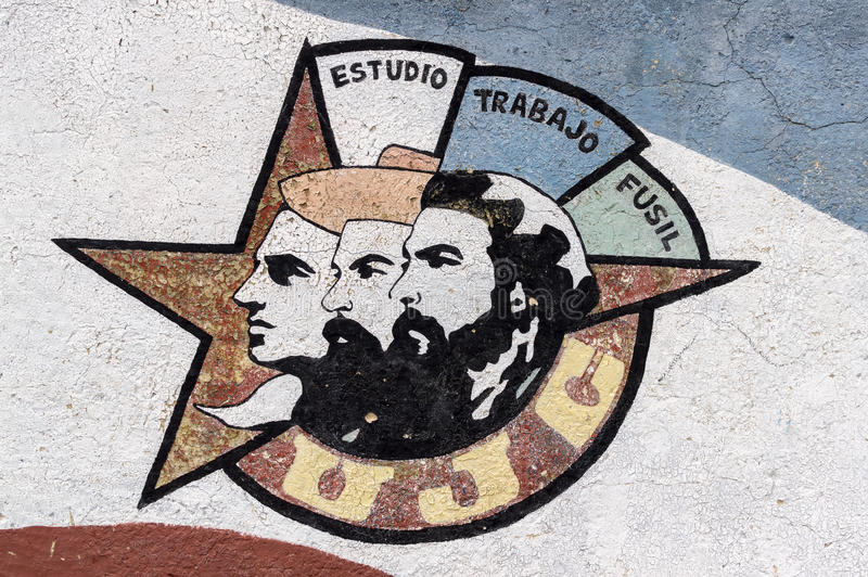 Peinture de mur des héros cubains de révolution photographie stock