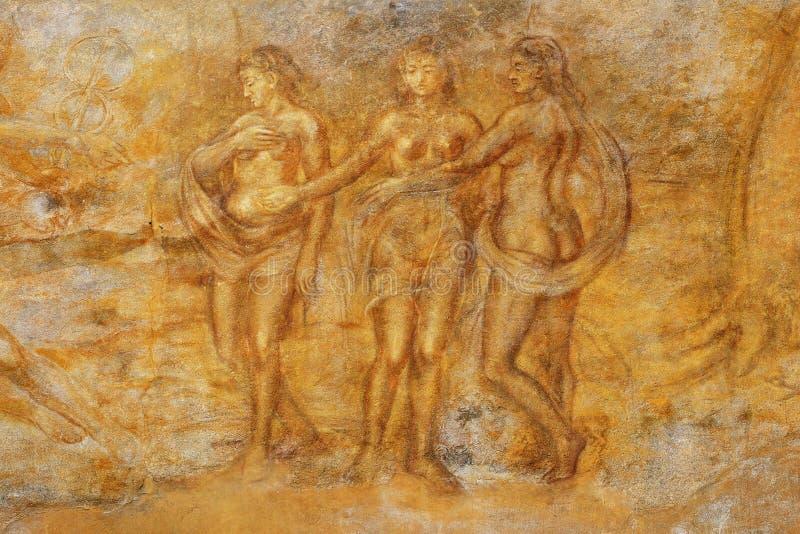 Peinture de mur médiévale image libre de droits