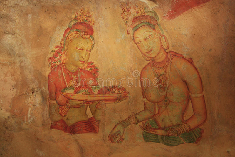 Peinture de mur, Sigiriya, Sri Lanka images libres de droits