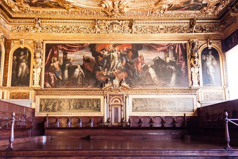 Peinture de Palazzo Ducale de palais du ` s de doge sur le mur images libres de droits