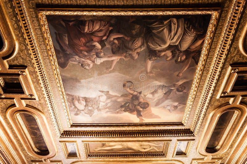 Peinture de Palazzo Ducale de palais du ` s de doge sur le plafond photo libre de droits