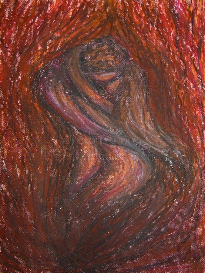 Peinture de pastels d'huile sur la toile du feu abstrait avec à l'intérieur une paire d'amants du feu embrassant, passion, amour image stock