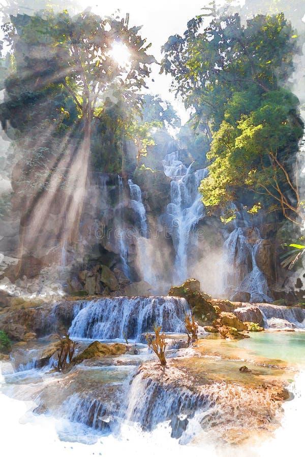 Peinture de paysage d'aquarelle d'automne de l'eau de Kouangxi chez Luang Prabang, Laos images stock