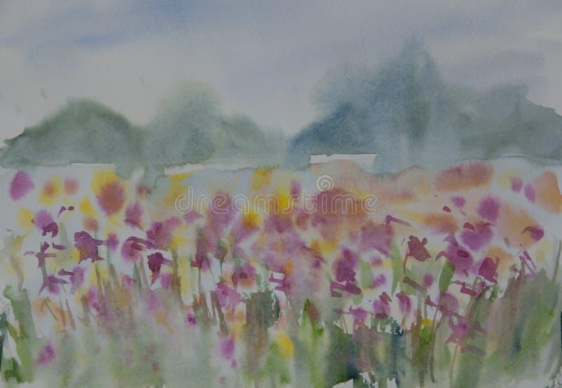 Peinture de paysage d'aquarelle du wildflower coloré f illustration de vecteur