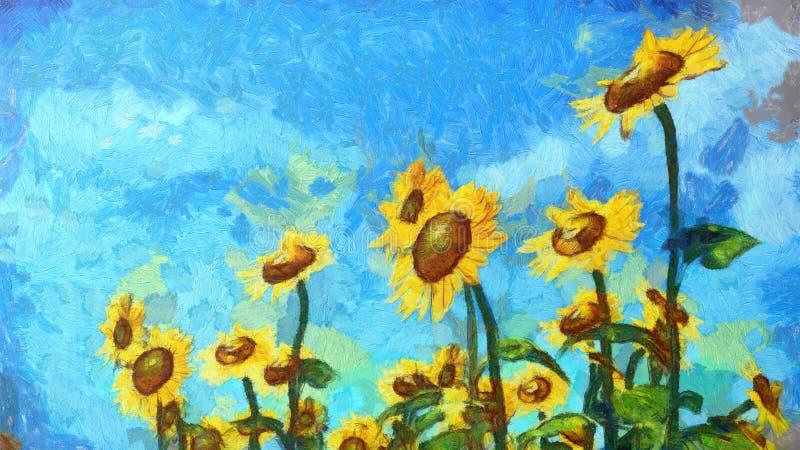 Peinture de paysage de tournesol Style artistique de peinture à l'huile illustration libre de droits