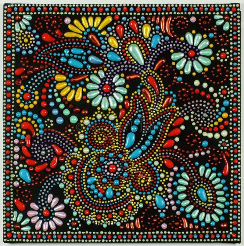 Peinture de point d'art traditionnel sur le fond noir illustration libre de droits