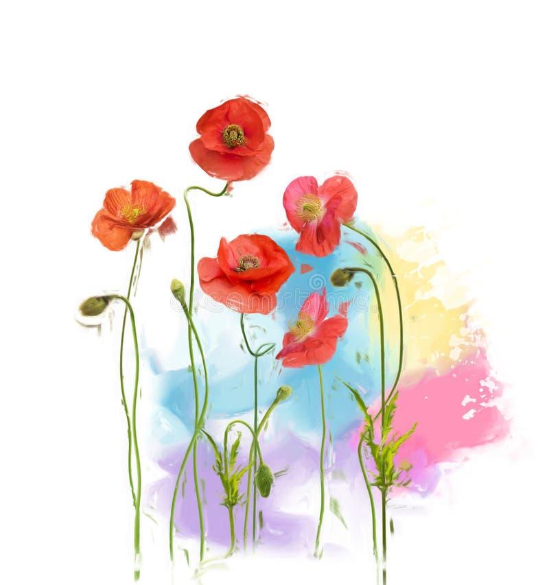 Peinture de Poppy Flowers illustration stock