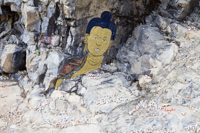 Peinture de roche, Bhutan photos libres de droits