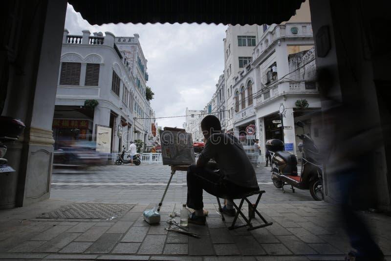 Peinture de rue dans la vieille rue de Hainan photographie stock libre de droits