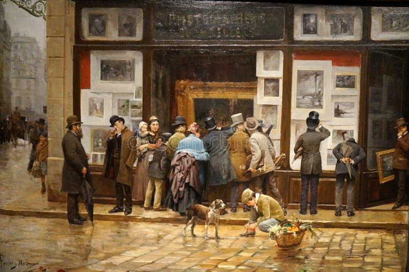 Peinture de scène de rue au musée à Barcelone image libre de droits