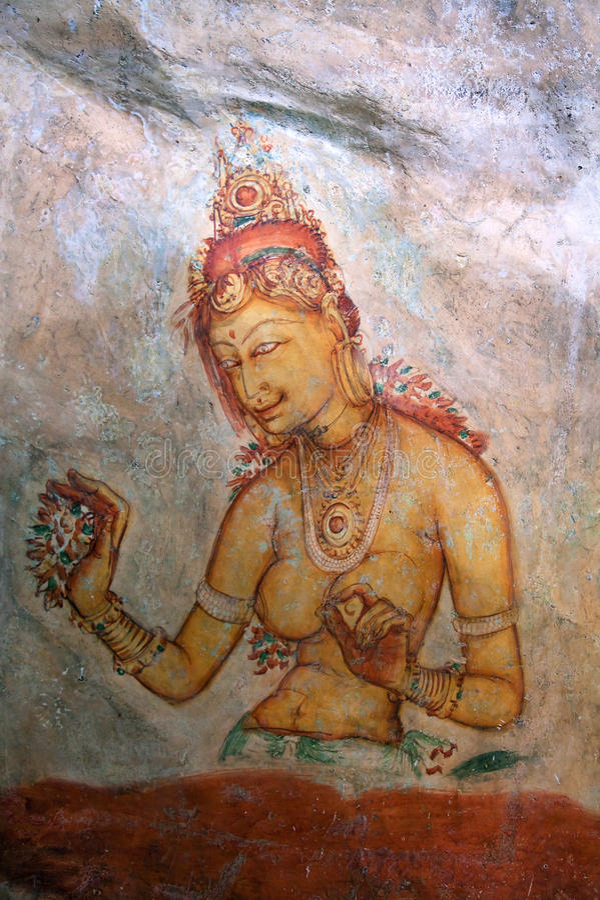 Peinture de Sigiriya photographie stock libre de droits