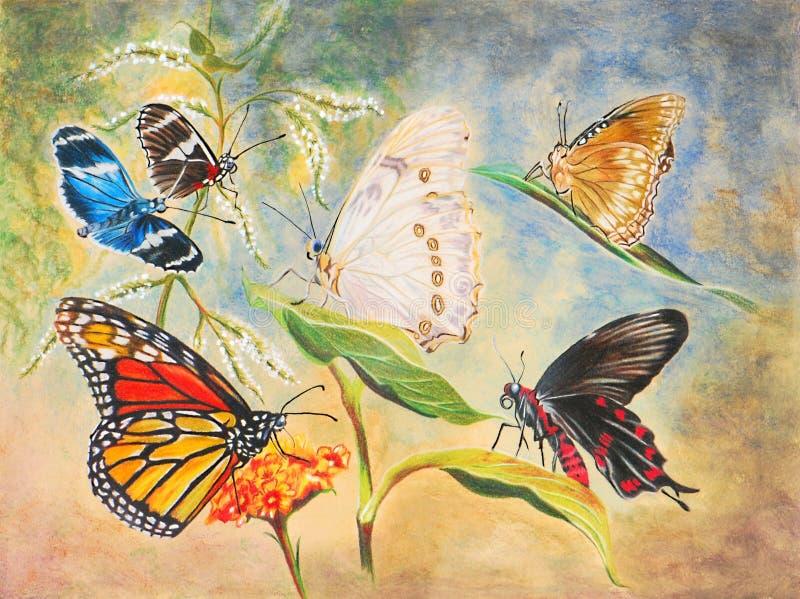 Peinture de six beaux guindineaux illustration stock