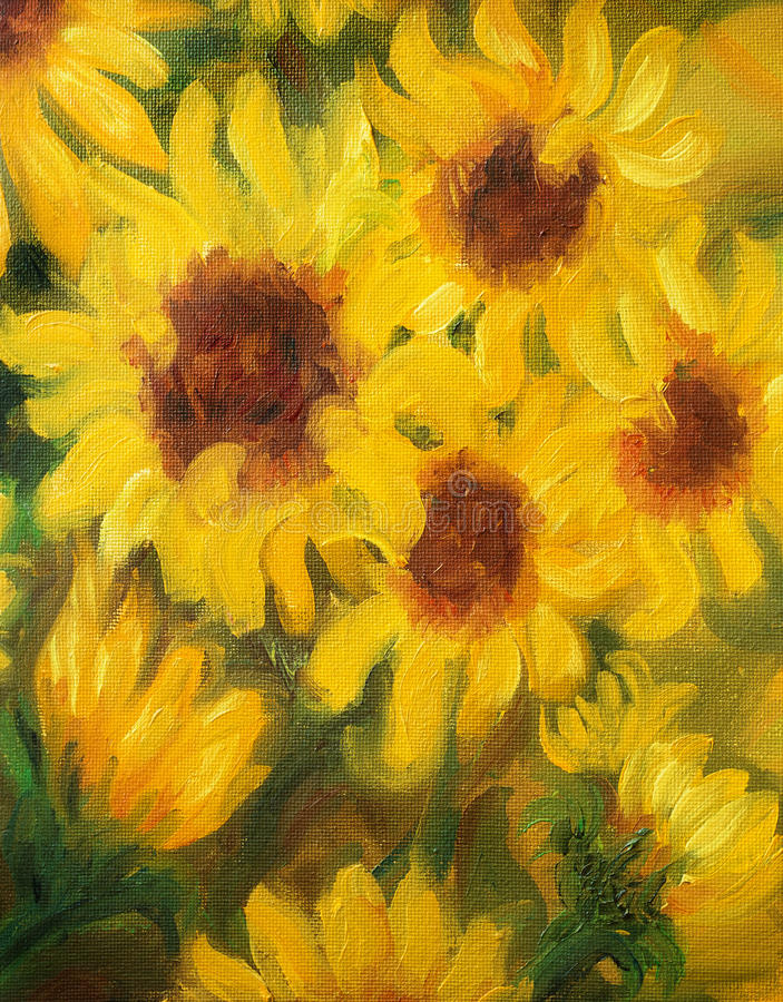 Download Peinture De Sunny Sunflowers Oil Sur La Toile Illustration Stock - Illustration du réaliste, fleur: 56486563