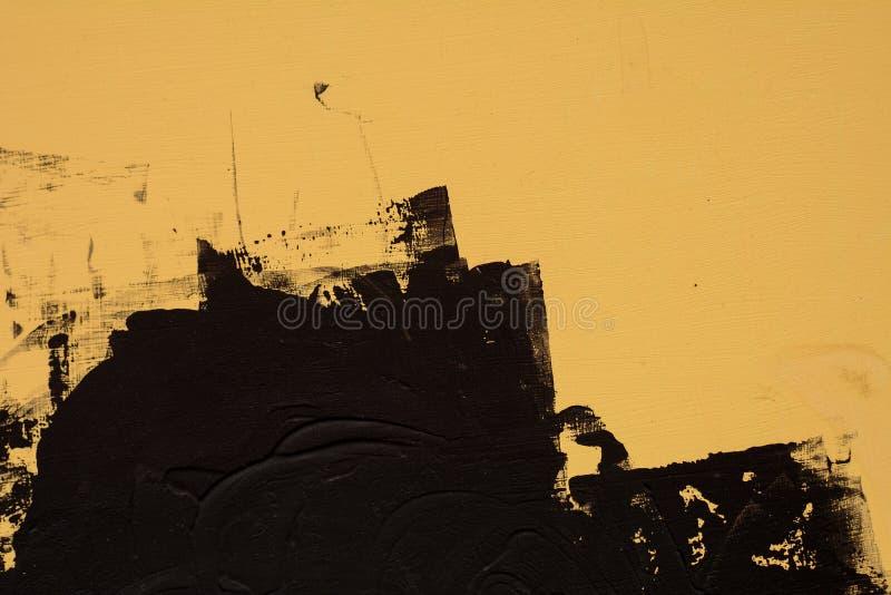Peinture de surface, noire et jaune peinte de texture sur le bois photos libres de droits