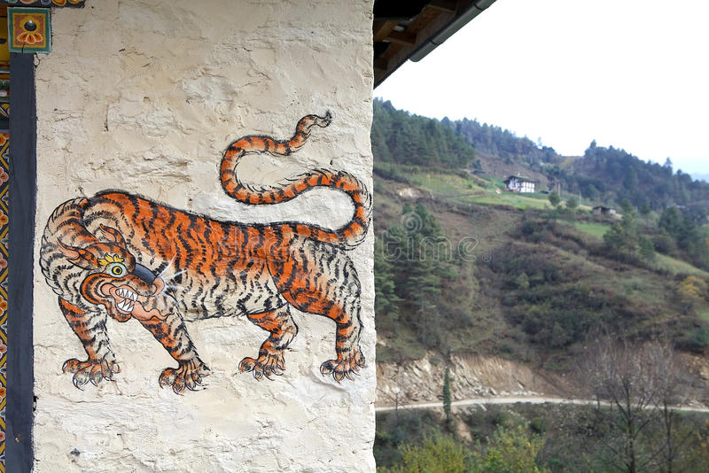 Peinture de tigre, Bhutan image stock