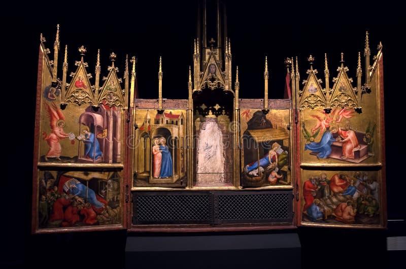 Peinture de triptyque sur le bois des scènes bibliques dans Landesmuseum, Innsbruck, Autriche photos libres de droits