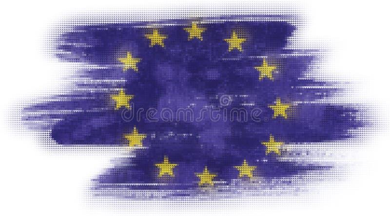 Peinture de tuiles de coeur de mosaïque de drapeau d'UE illustration stock