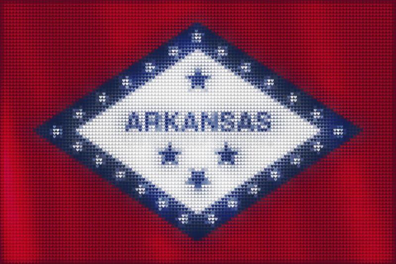 Peinture de tuiles de coeur de mosaïque de drapeau de l'Arkansas illustration libre de droits
