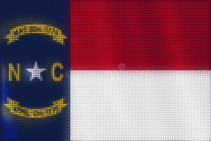 Peinture de tuiles de coeur de mosaïque de drapeau de la Caroline du Nord illustration stock