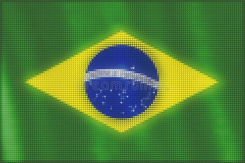 Peinture de tuiles de coeur de mosaïque du drapeau brésilien illustration de vecteur