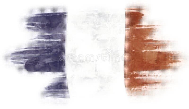 Peinture de tuiles de coeur de mosaïque du drapeau français illustration libre de droits