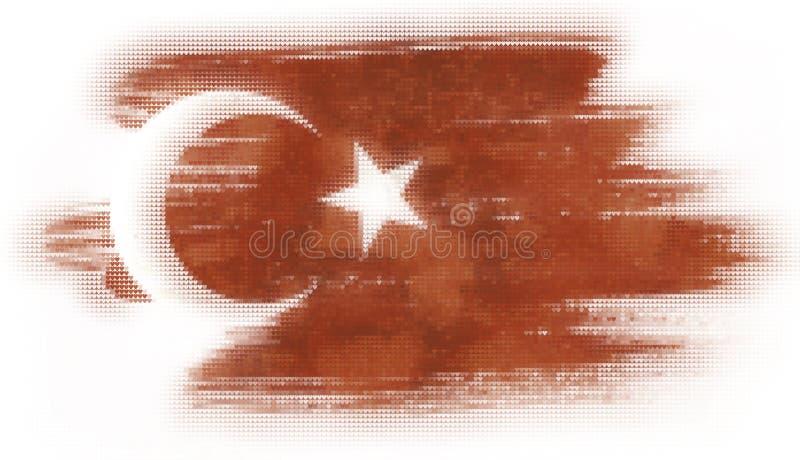 Peinture de tuiles de coeur de mosaïque du drapeau turc illustration de vecteur