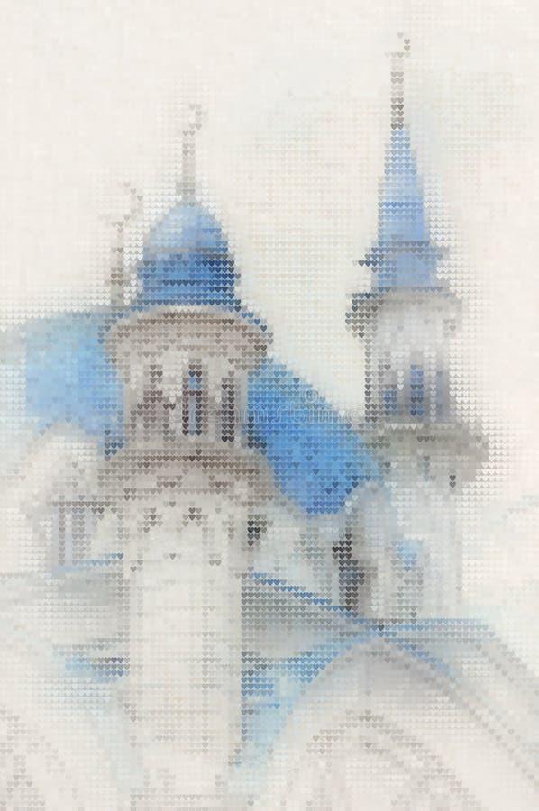 Peinture de tuiles de coeur de mosaïque de mosquée de Kul Sharif illustration de vecteur
