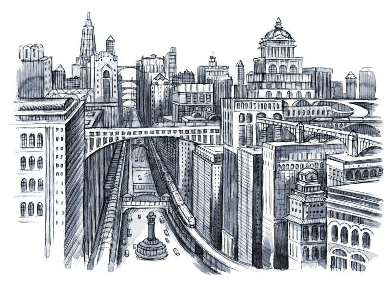 Peinture de ville urbaine illustration de vecteur